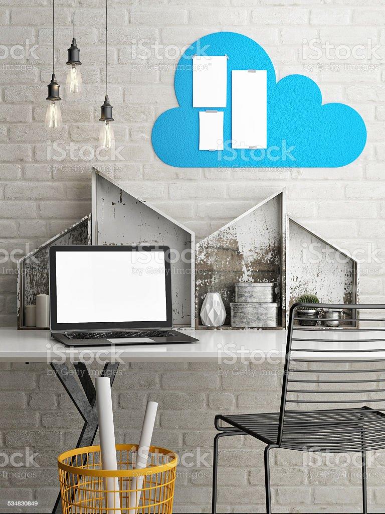 mock up modern office, 3d illustration stock photo