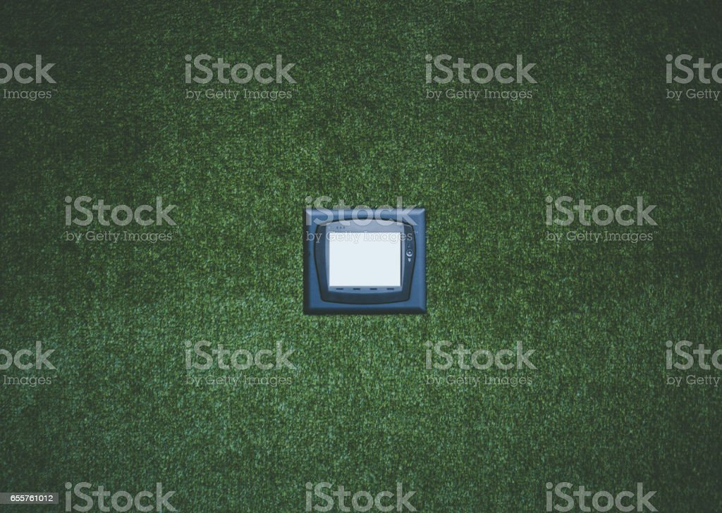 Mock up of multifunctional device on wall stock photo