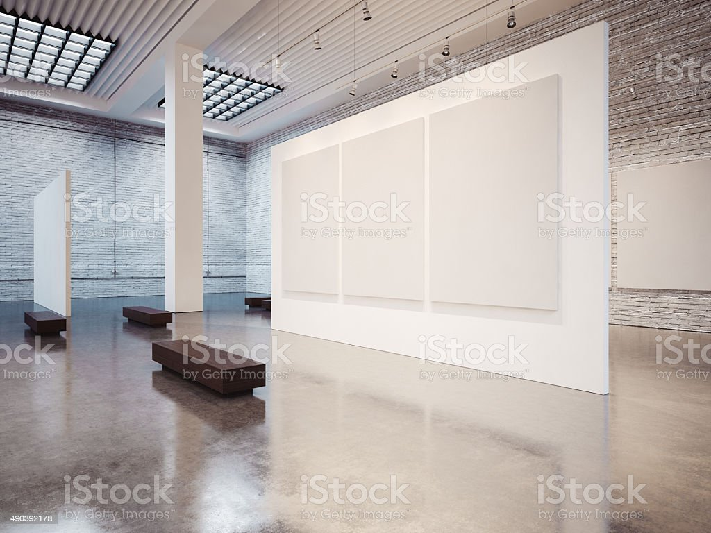 Mock up of varias white canvas and bricks. 3d render stock photo