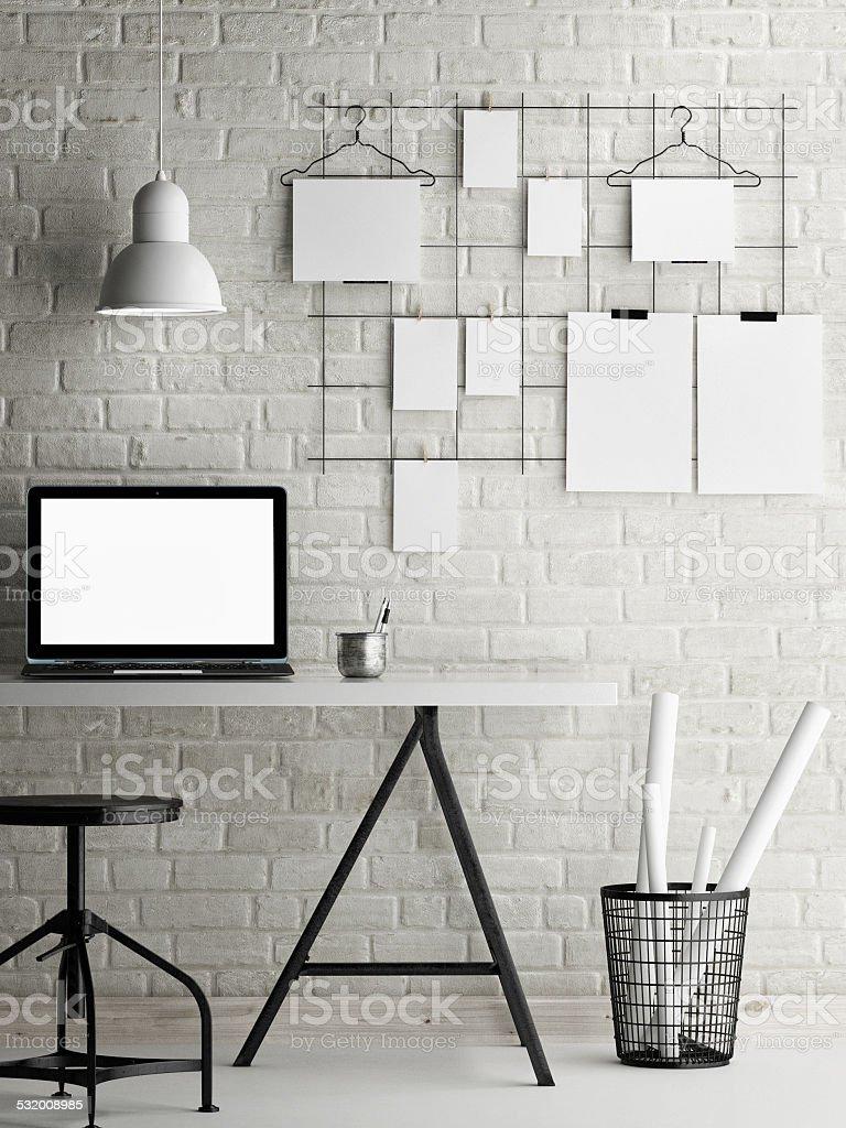 Mock up office, loft background stock photo