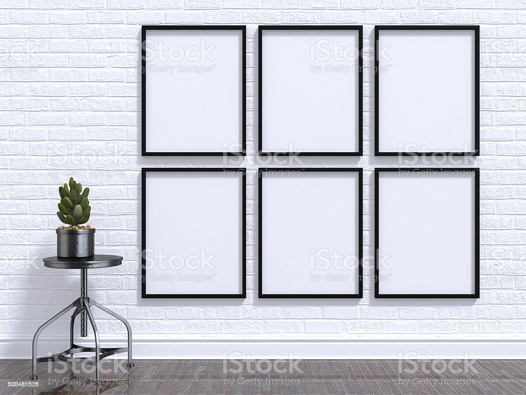 Mock up photo frame with plant, stool, floor and wall stock photo
