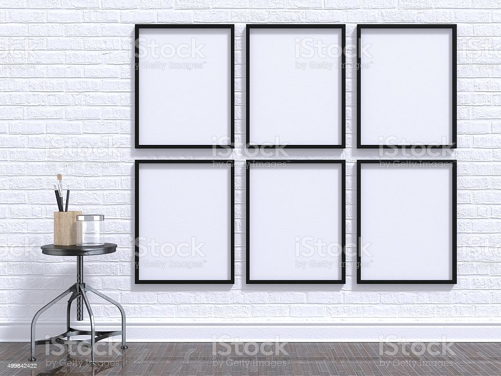 Mock up photo frame with table, floor and wall. 3D stock photo
