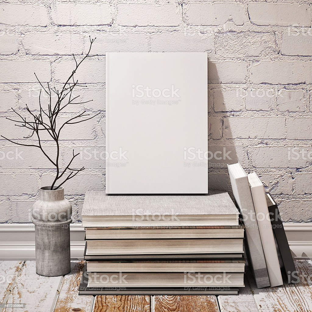 mock up poster and canvas in vintage interior background stock photo