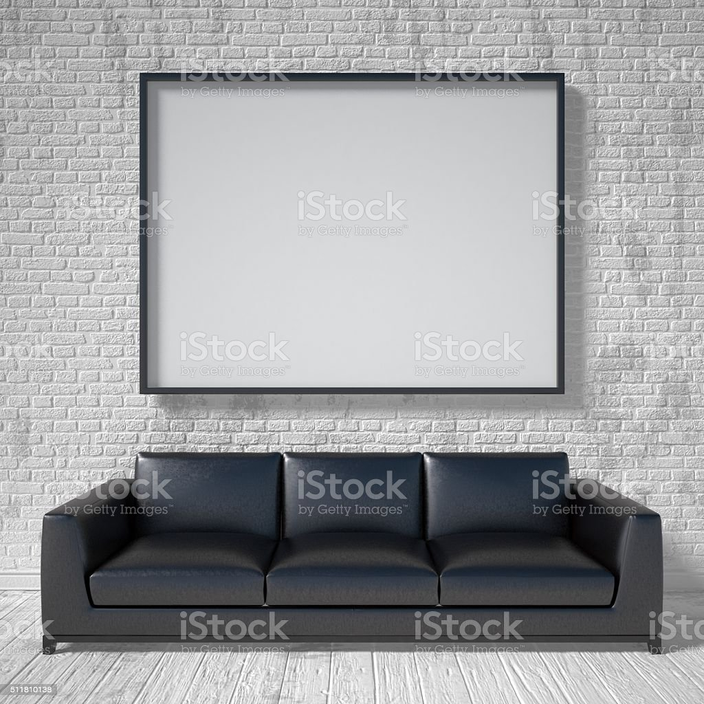 Mock up poster, black leather sofa. 3D stock photo