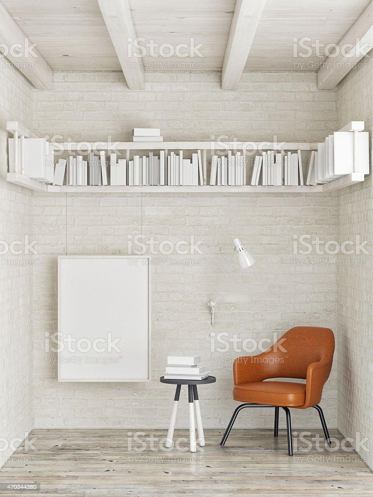 Mock up poster, bookshelf on white brick wall, 3d illustration stock photo