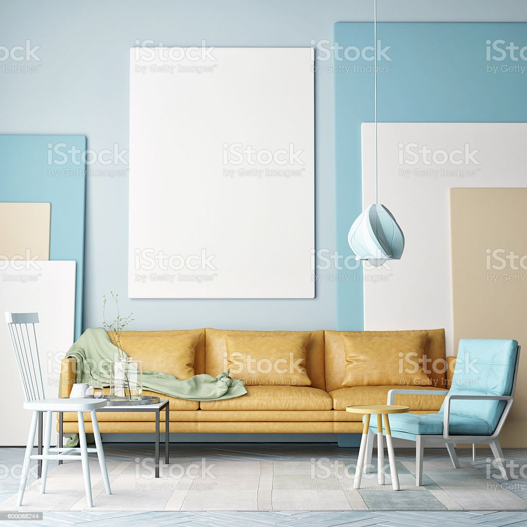 Mock up poster, colorful composition in room stock photo