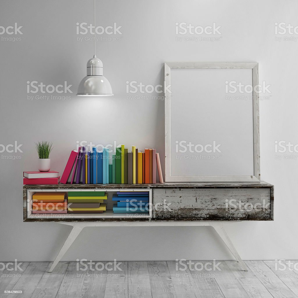 Mock up poster eith colored books on table in room stock photo
