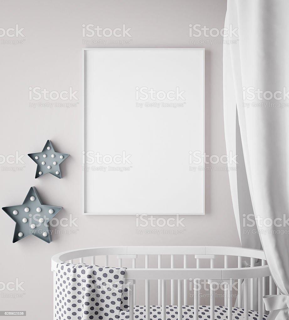 mock up poster frame in children room, scandinavian style interior stock photo