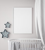mock up poster frame in children room, scandinavian style interior