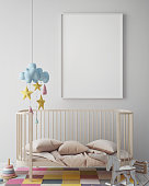 mock up poster frame in children room, scandinavian style