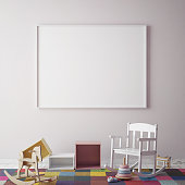 mock up poster frame in children room, scandinavian style