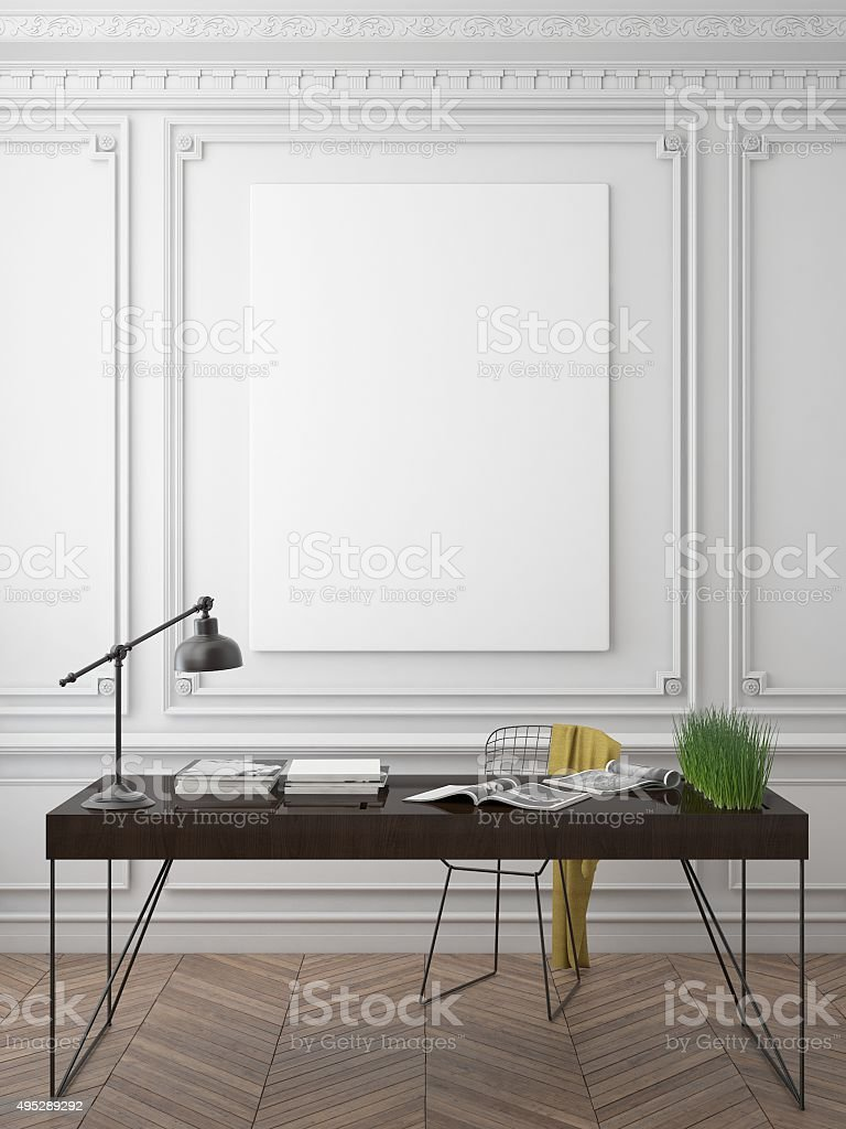 mock up poster frame in hipster interior background stock photo