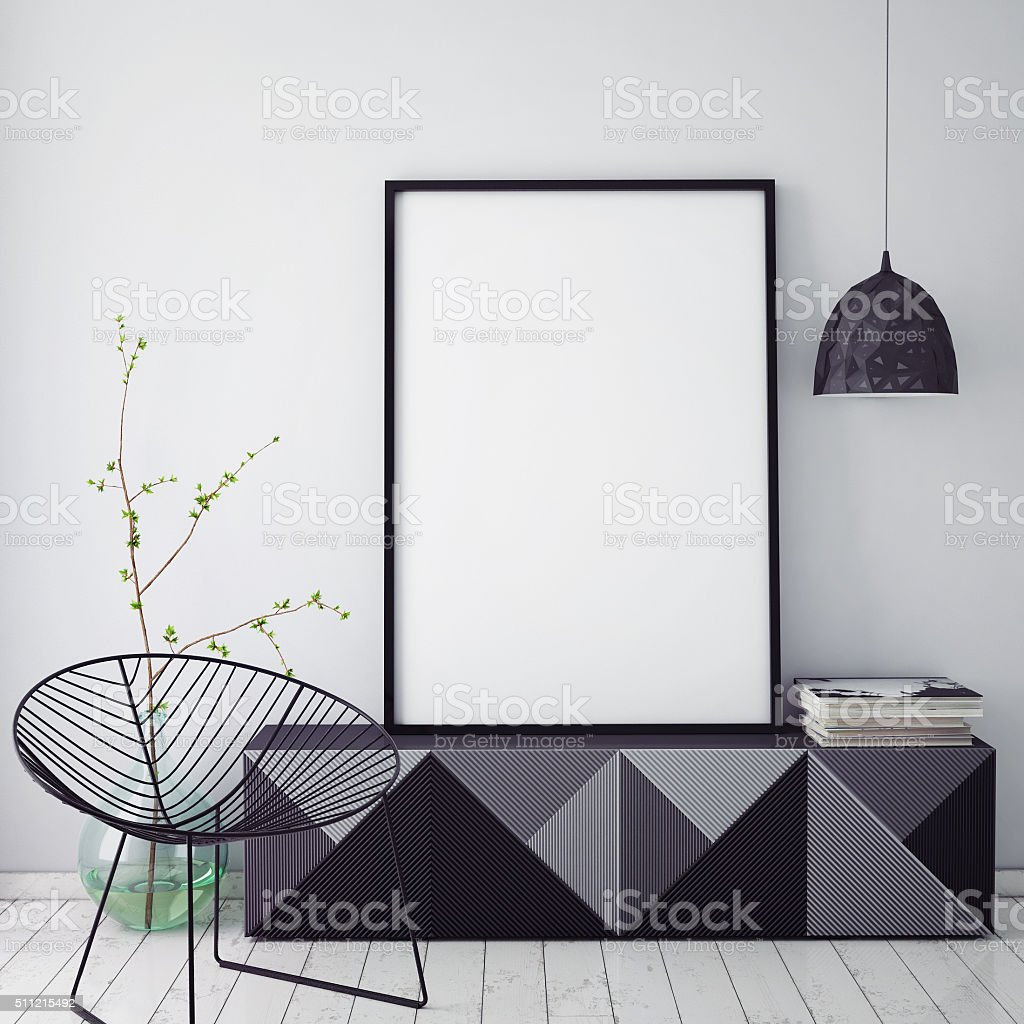 mock up poster frame in hipster interior background,christamas decoration, stock photo