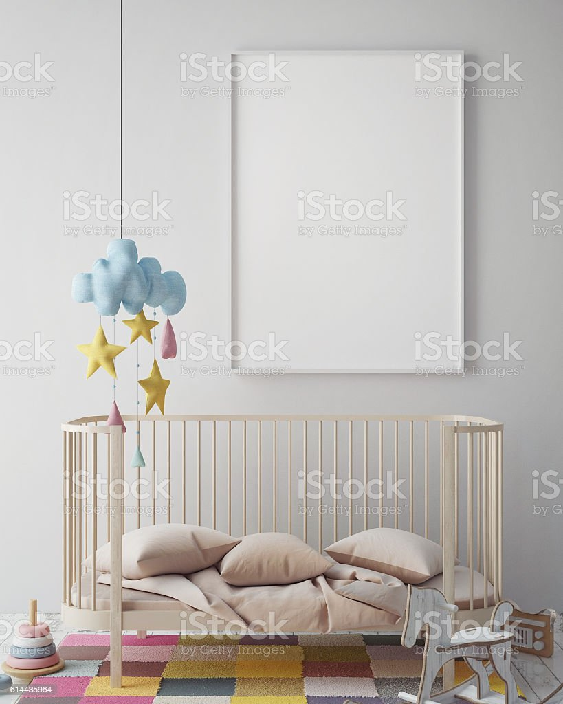 mock up poster frame in hipster room, scandinavian style interior stock photo