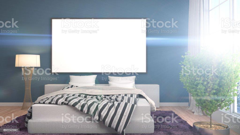 mock up poster frame in interior background. 3D Illustration stock photo