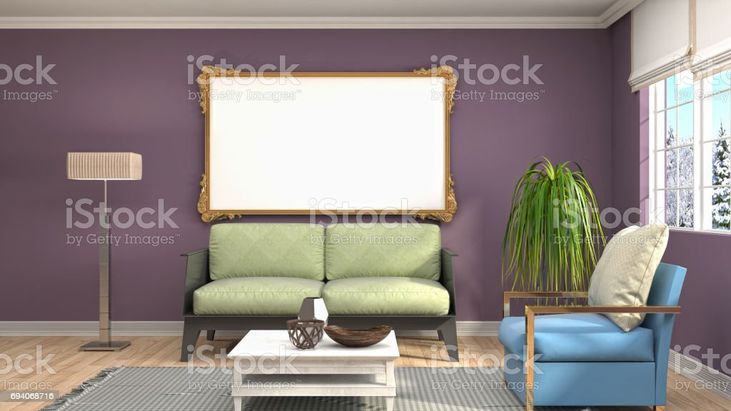 mock up poster frame in interior background. 3D Illustration stock photo