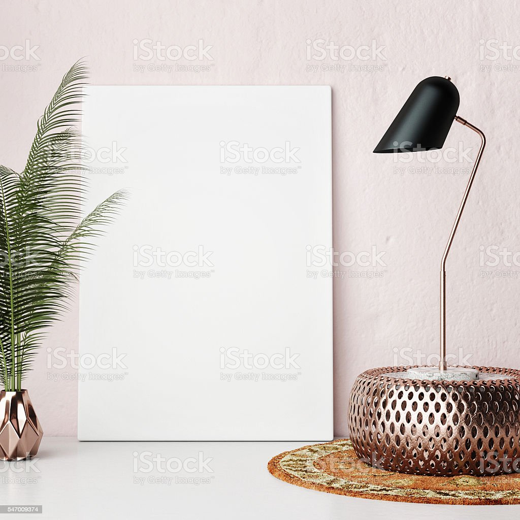 Mock up poster frame rose wall, hipster interior background stock photo
