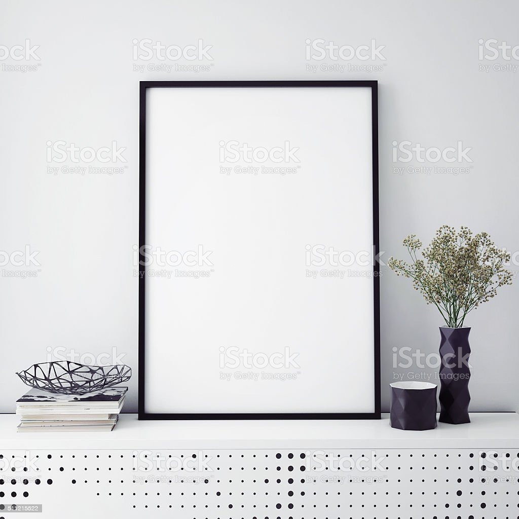 mock up poster frame with on retro chest of drawers, stock photo