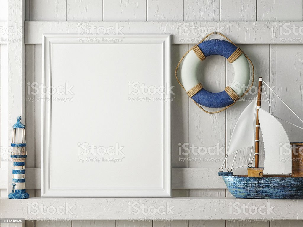Mock up poster frame with on wooden background, hipster interior stock photo