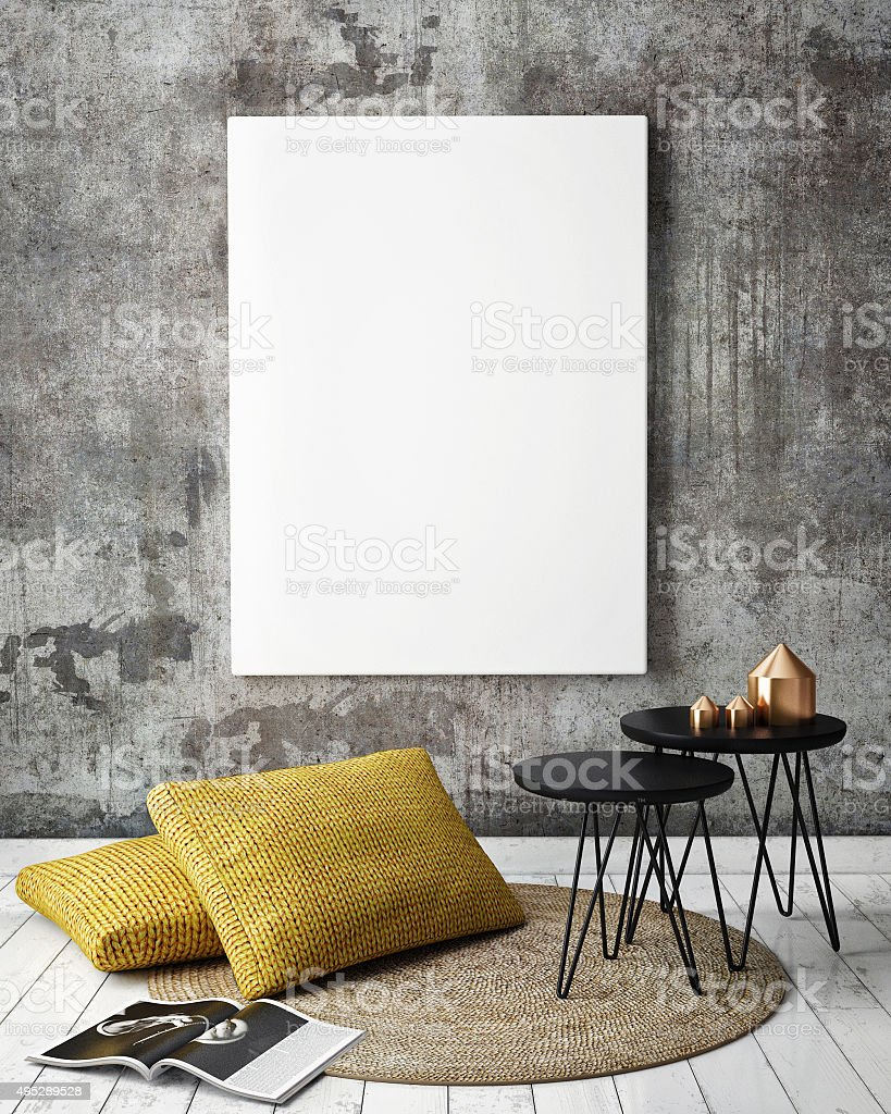 mock up poster frames in hipster interior background stock photo