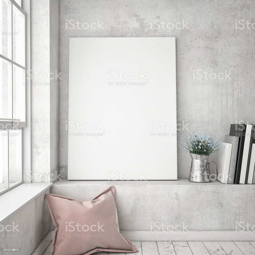 mock up poster frames in hipster interior background, stock photo