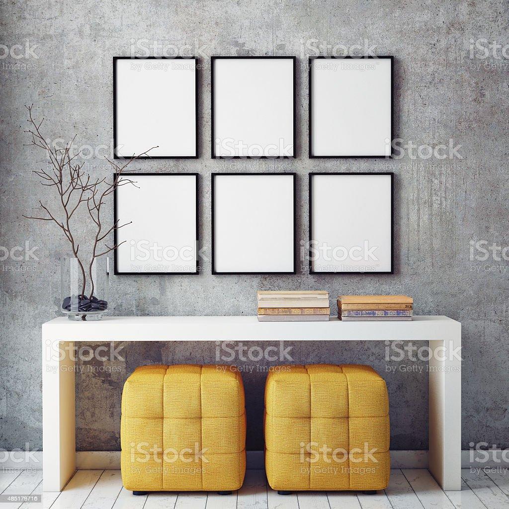 mock up poster frames stock photo
