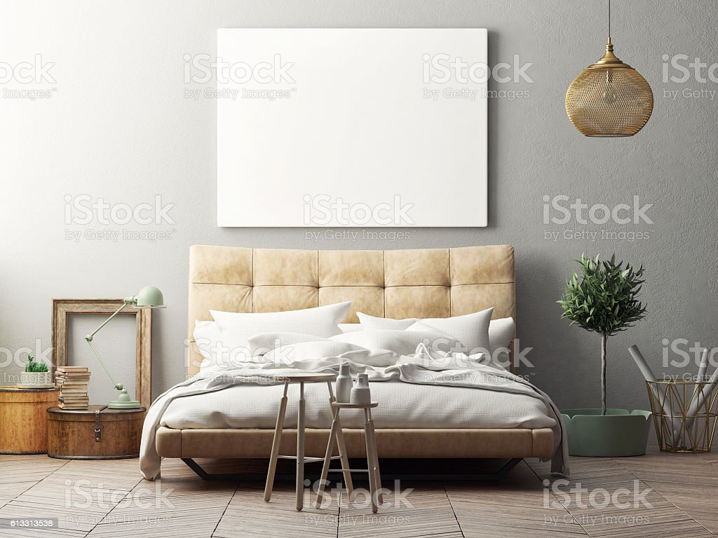 Mock up poster, hipster bedroom stock photo
