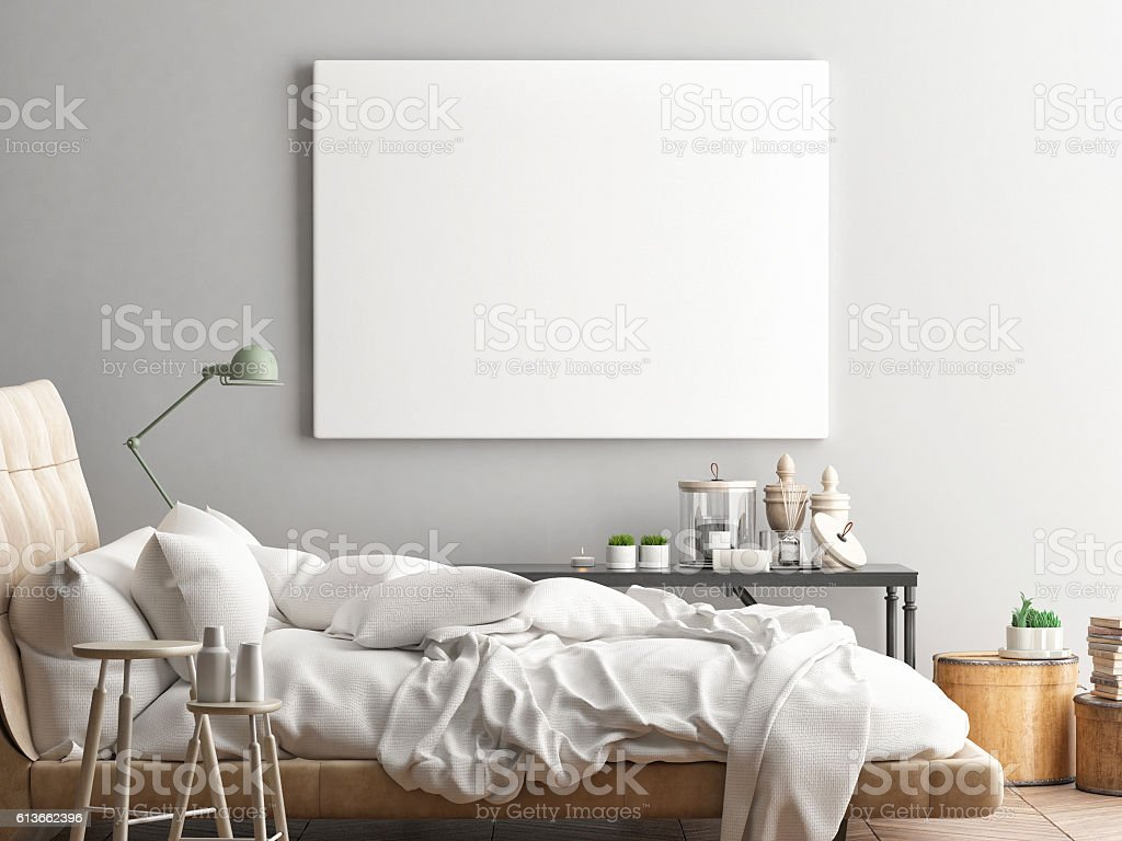 Mock ups of one bedroom two bedroom and three bedroom apartments - Mock Up Poster Hipster Bedroom Royalty Free Stock Photo