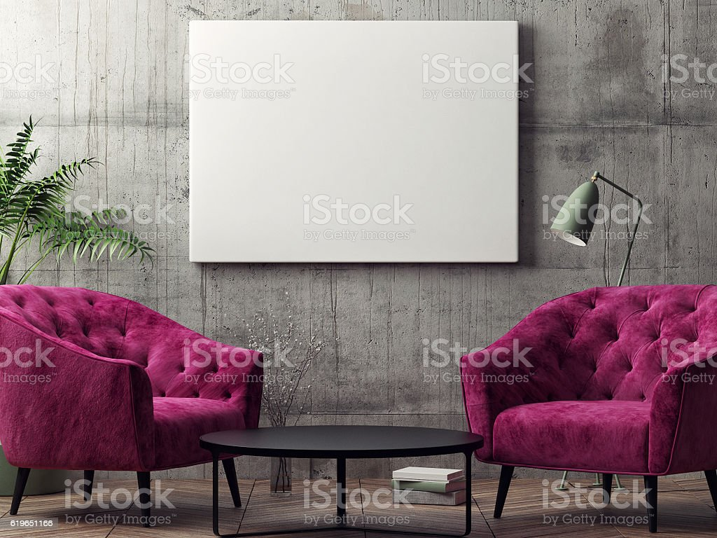 Mock up poster, hipster living room stock photo