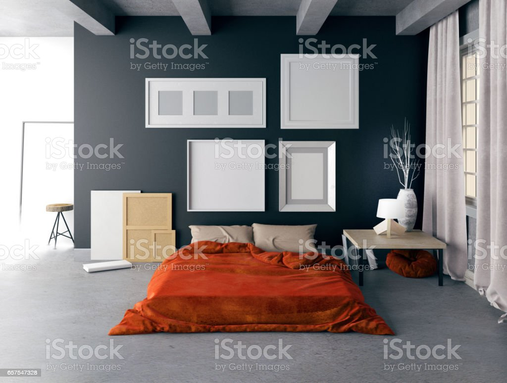 Mock ups of one bedroom two bedroom and three bedroom apartments - Mock Up Poster In Bedroom Interior Bedroom Hipster Style 3d Illustration Royalty Free