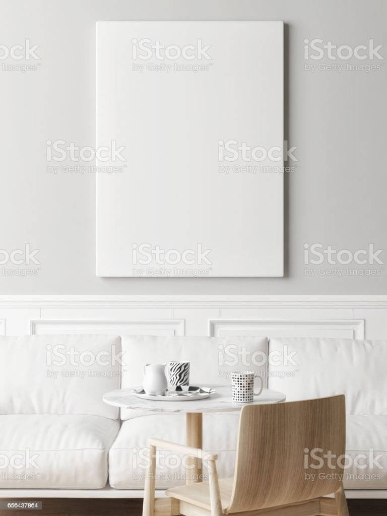 Mock up poster in cafe stock photo