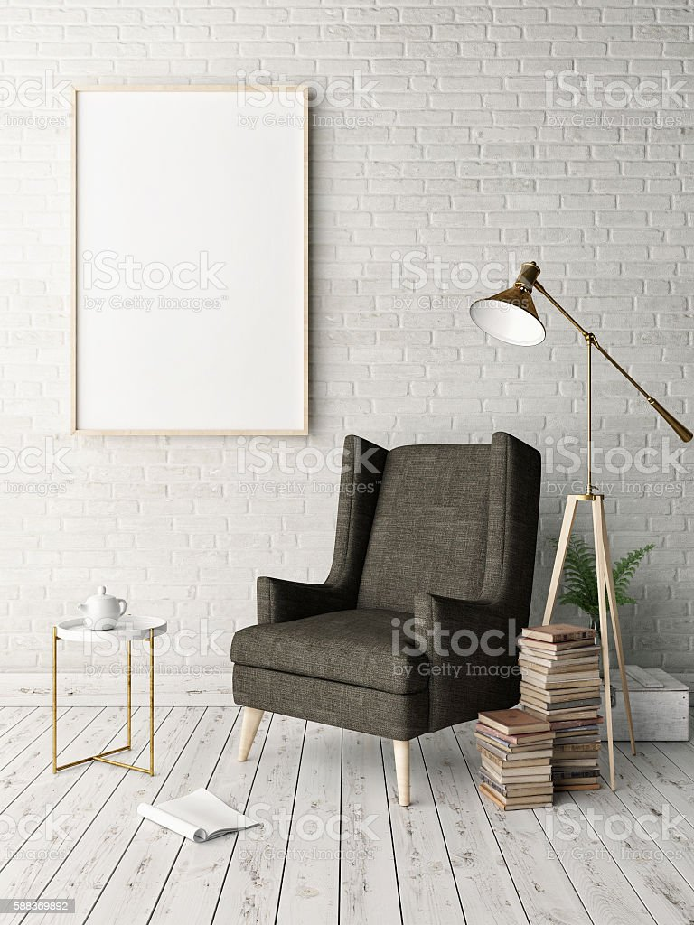 Mock up poster in hipster interior background stock photo