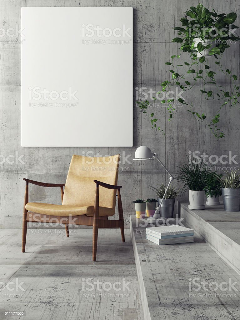 Mock up poster in hipster living room stock photo