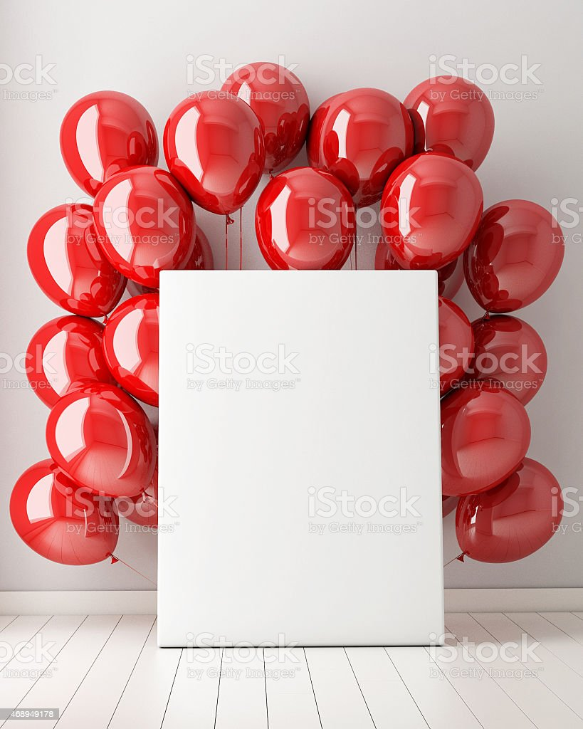 mock up poster in interior background with red balloons stock photo