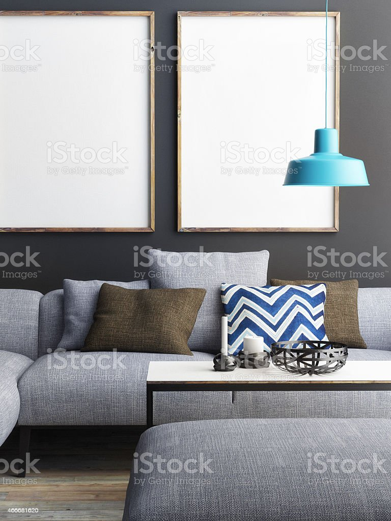 mock up poster in living room, 3d illustration stock photo