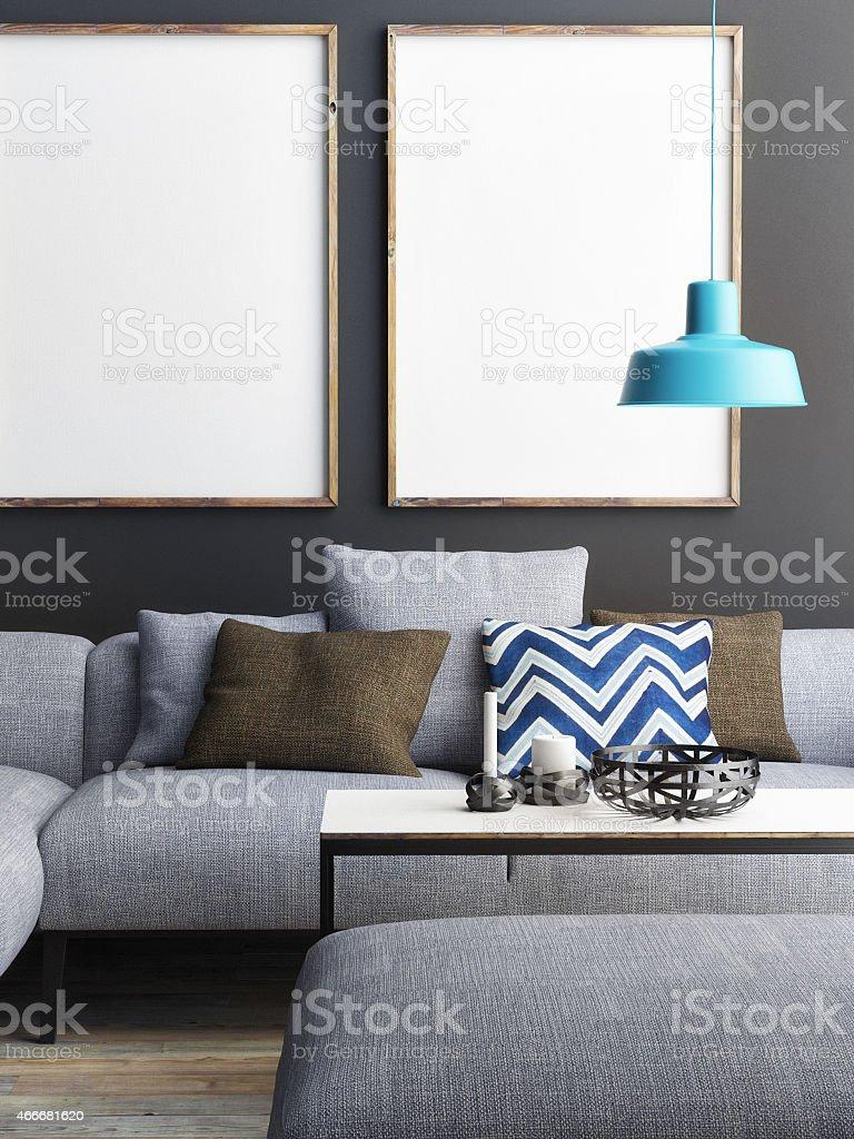 mock up poster in living room, 3d illustration stock photo