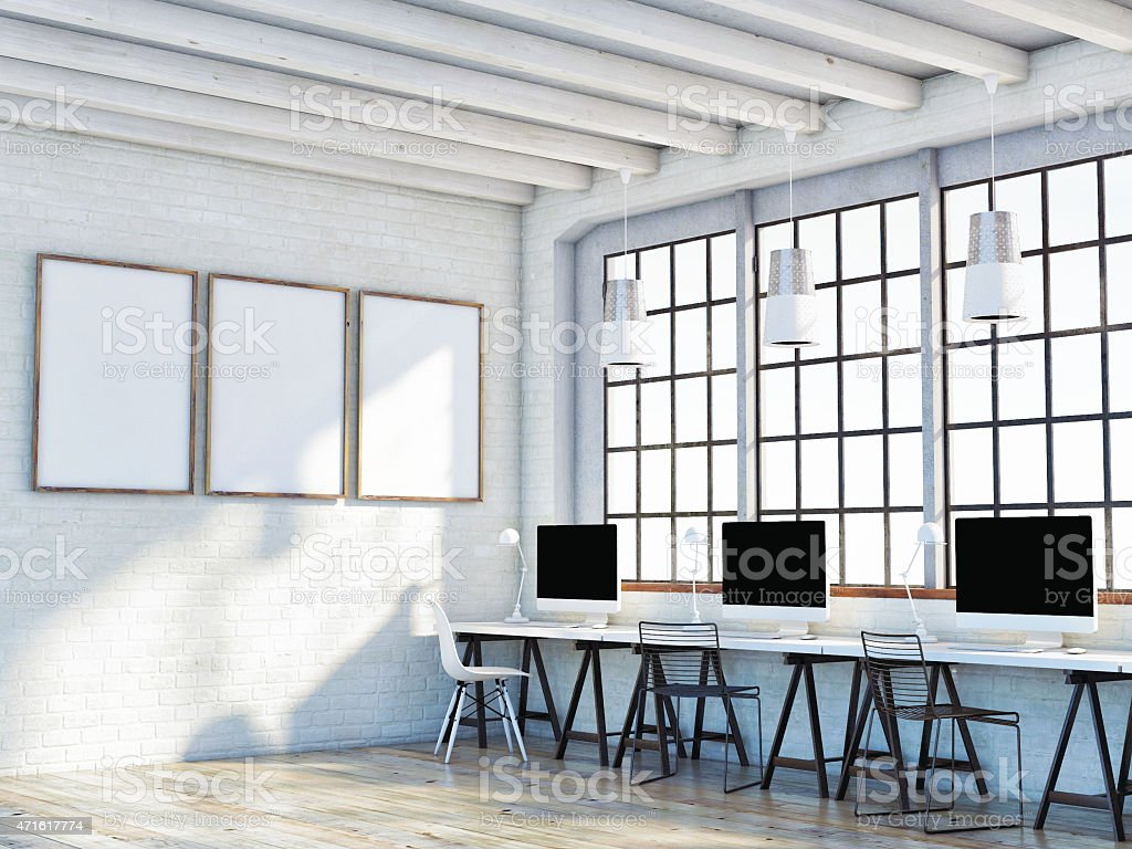 mock up poster in loft space, 3d illustration stock photo