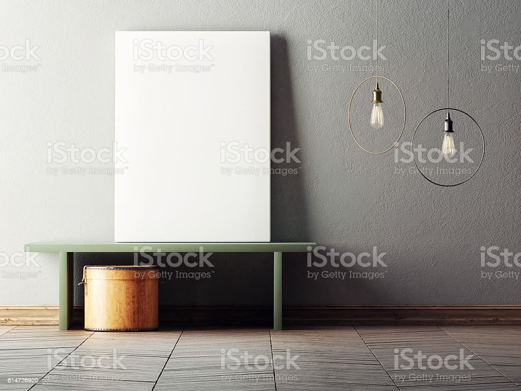 Mock up poster in minimalism interior design stock photo