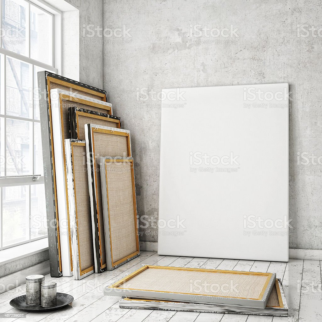 mock up poster in vintage loft interior, background stock photo