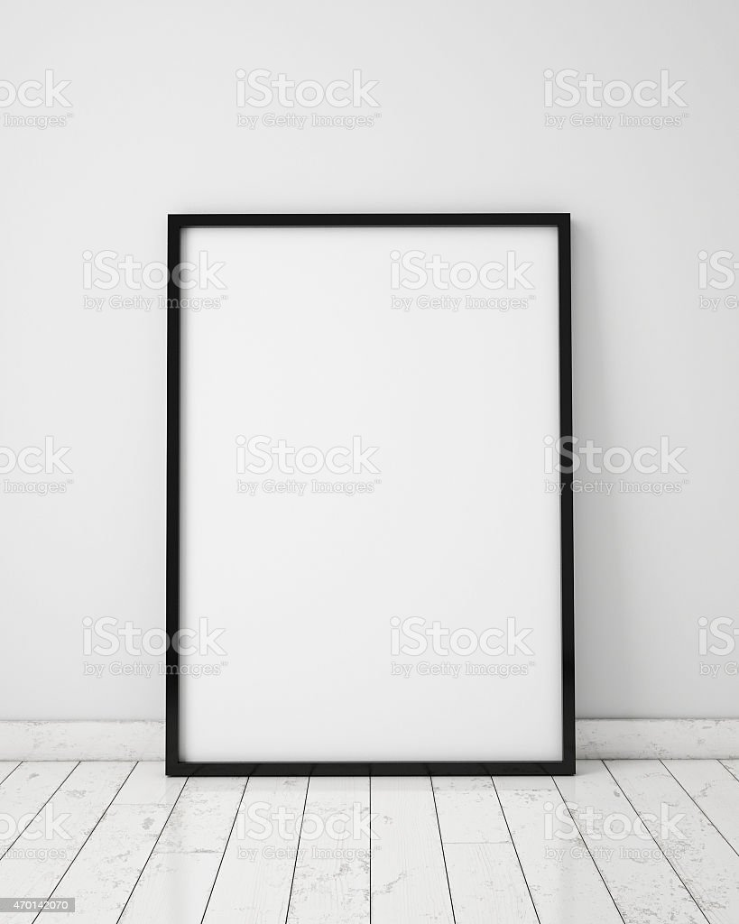 mock up poster in white scandinavian interior, background stock photo