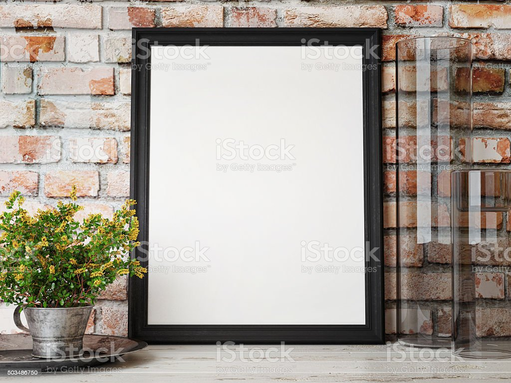 Mock up poster, interior composition, brick wall, flowers, stock photo
