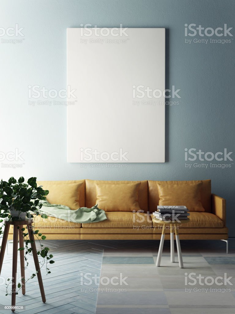Mock up poster, interior composition stock photo