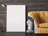 Mock up poster, interior composition, sofa, lamp, sculpture, white poster