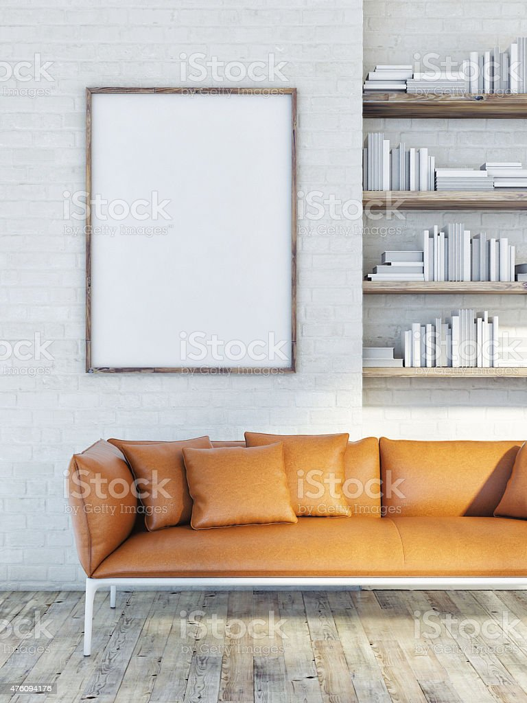 Mock up poster on brick wall, leather sofa, 3d illustration stock photo