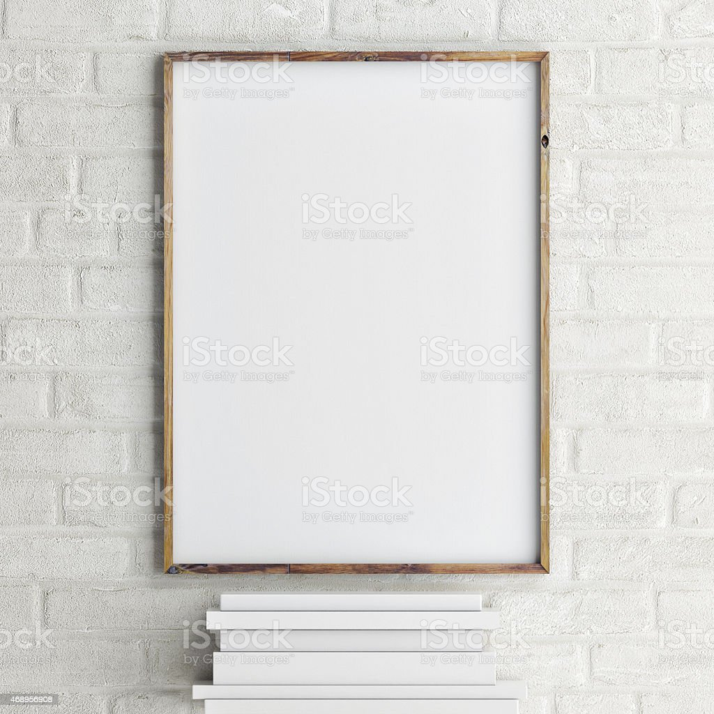 mock up poster on brick wall with books, 3d rendering stock photo