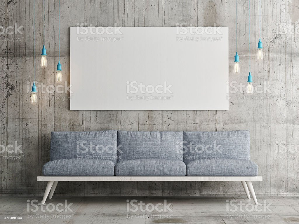 Mock up poster on concrete wall, 3d illustration stock photo