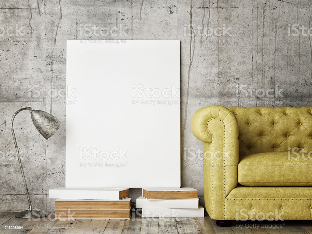 Mock up poster on concrete  wall stock photo