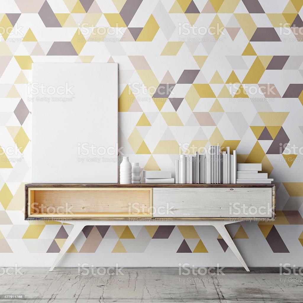 Mock up poster on decorative geometric wall, 3d illustration stock photo