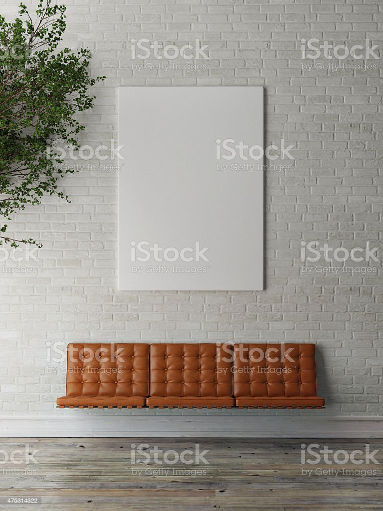 mock up poster on exterior brick wall, 3d illustration stock photo
