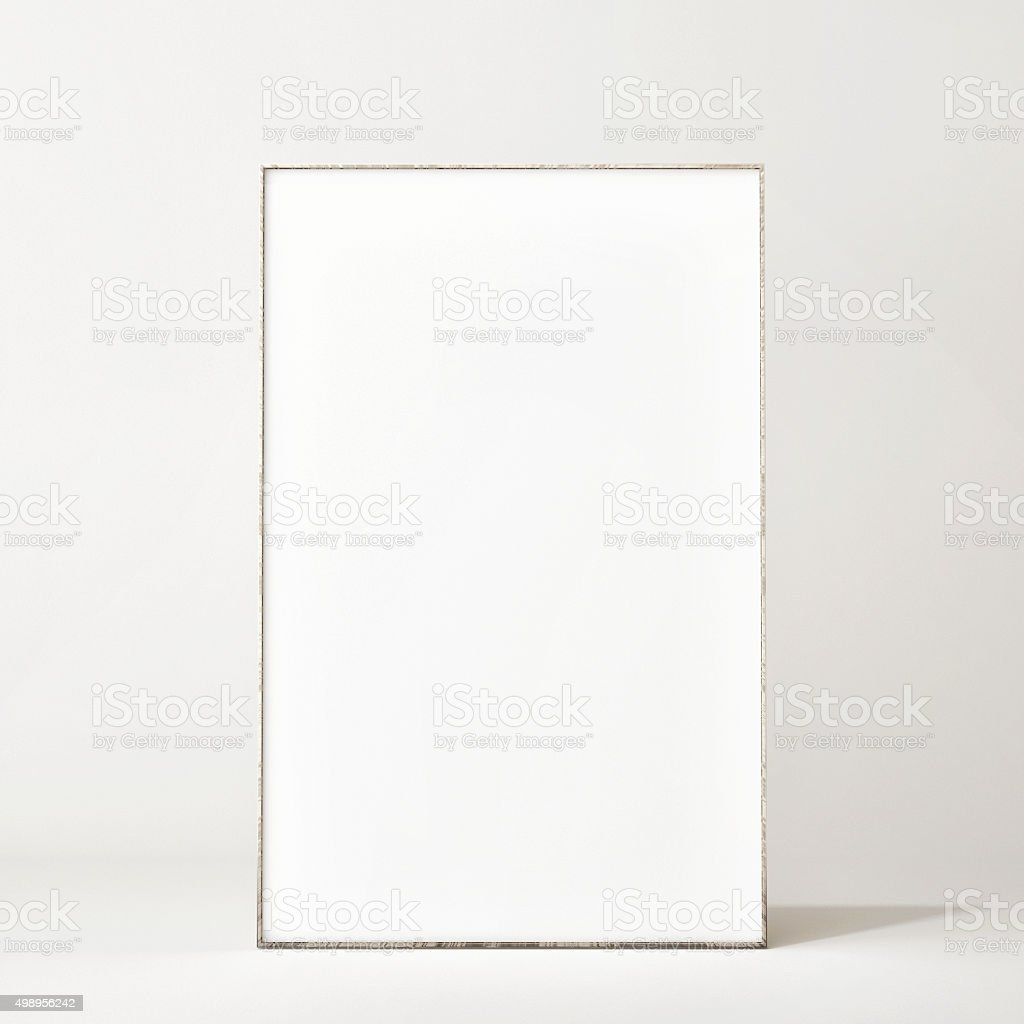 Mock up poster on floor stock photo
